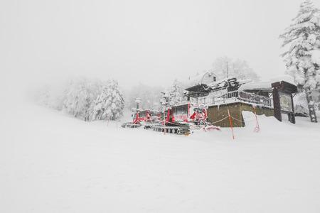 Red Snow blower machine vehicle