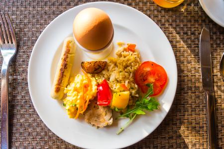 Closeup of egg omelette for breakfast