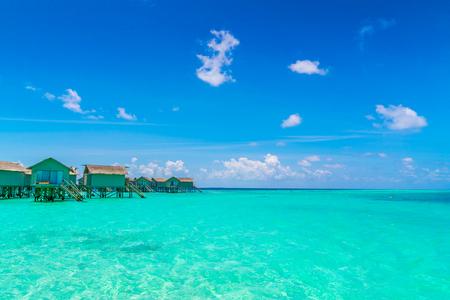Beautiful water villas in tropical Maldives island Stock Photo