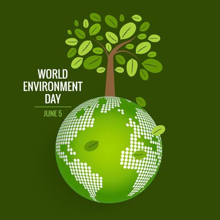 世界環境の日の概念。緑のエコ地球。ベクトルの図。