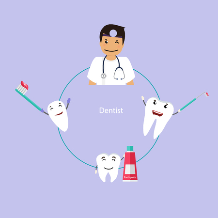toothache: Medical dental background design. Dentist with teeth. Vector illustration