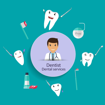 Medical dental background design. Dentist with teeth. Vector illustration
