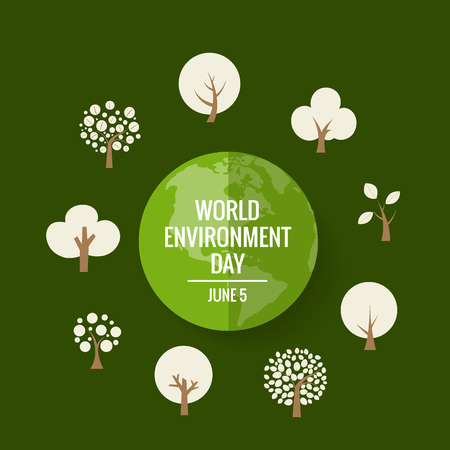 World environment day concept. Green Eco Earth. Vector illustration. Ilustração