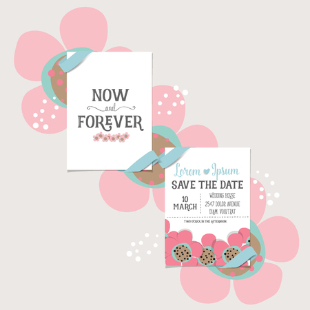 happy couple: Wedding invitation card design with cute flower templates. Vector illustration.