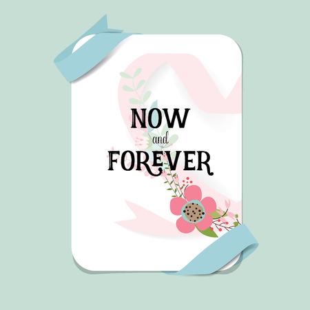 Wedding invitation card design with cute flower templates. Vector illustration.