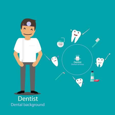 Medical dental background design. Dentist with teeth. Vector illustration