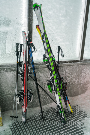 Yamakata, Japan - February 7, 2017: Skiing, winter season , mountains and ski equipments  at Zao ski moutain, Yamagata Japan Editorial