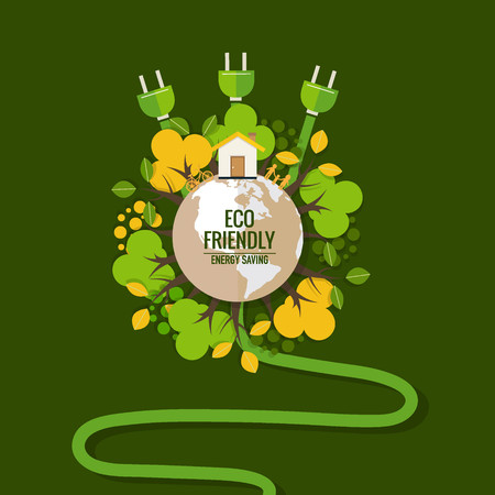 Energy saving concept with Green Eco Earth and Trees.. Vector illustration.