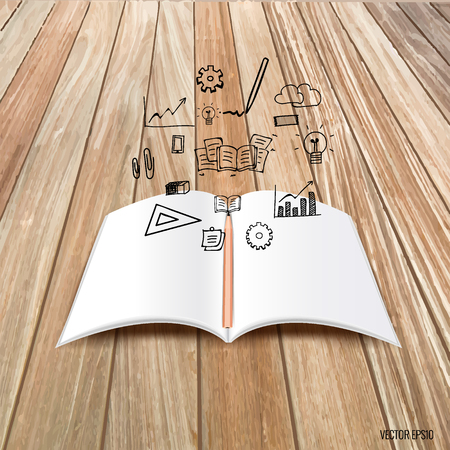 Mock up, book, catalog, magazines with cloud of application. Vector illustration.
