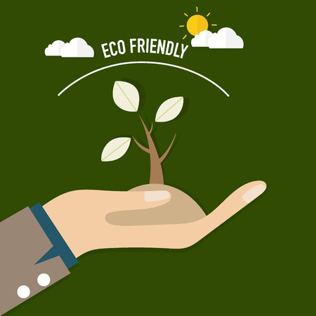 ECO FRIENDLY. Ecology concept with Trees. Vector illustration. Illustration