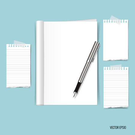 Blank catalog, magazines,book mock up and white note papers. Vector illustration.