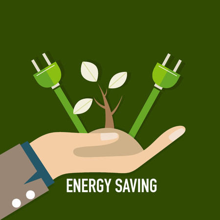 Energy saving concept with Trees.. Vector illustration.