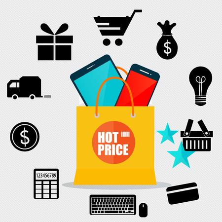 gift basket: Sale label price tag design. Vector illustration. Illustration