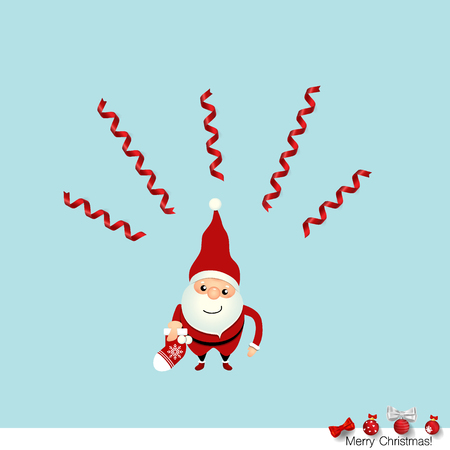 new: Christmas Greeting Card with Christmas Santa Claus. Vector illustration.