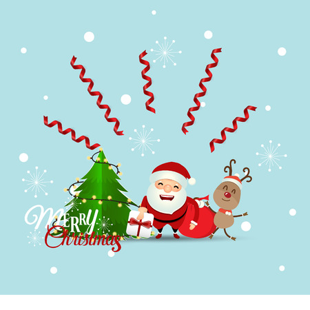 Christmas Greeting Card with Christmas Santa Claus ,reindeer and christmas tree. Vector illustration. Illustration
