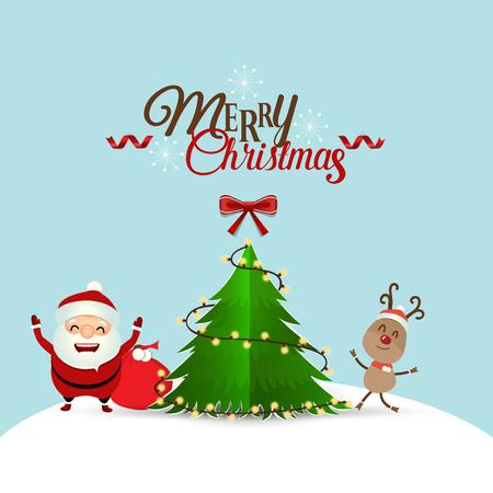 postcard box: Christmas Greeting Card with Christmas Santa Claus ,reindeer and christmas tree. Vector illustration. Illustration