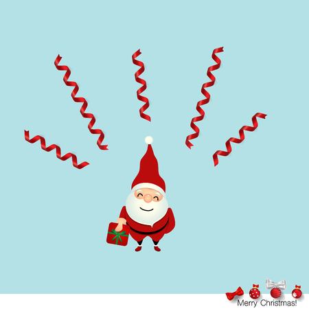 month: Christmas Greeting Card with Christmas Santa Claus. Vector illustration.
