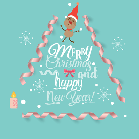 Christmas Greeting Card with Merry Christmas lettering, vector illustration.