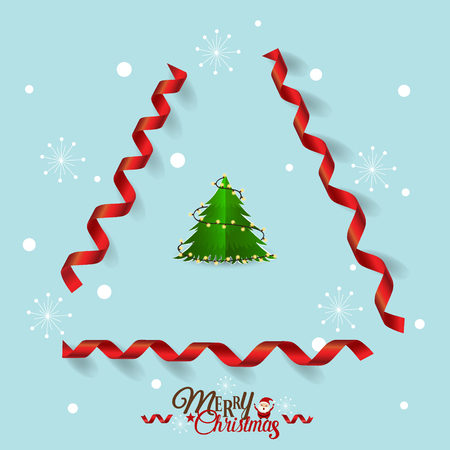 Christmas Greeting Card with Merry Christmas lettering and Christmas tree, vector illustration.