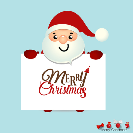 Christmas Greeting Card with Christmas Santa Claus and Merry Christmas lettering. Vector illustration. Illustration