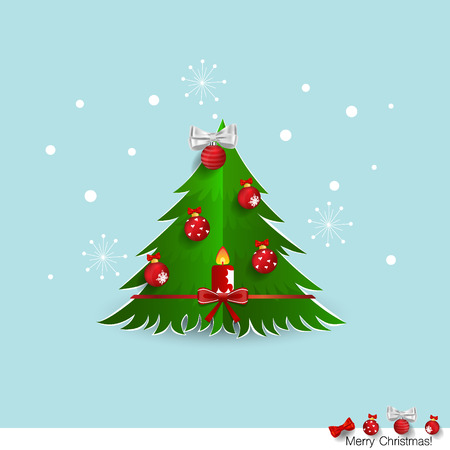Christmas Greeting Card with Christmas tree and Christmas decorations. Vector illustration.