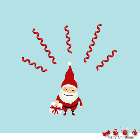 postcard background: Christmas Greeting Card with Christmas Santa Claus. Vector illustration.