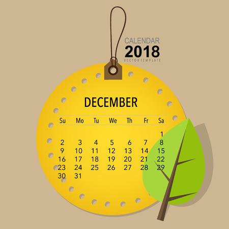 2018 Calendar planner vector design, monthly calendar template for December. Illustration