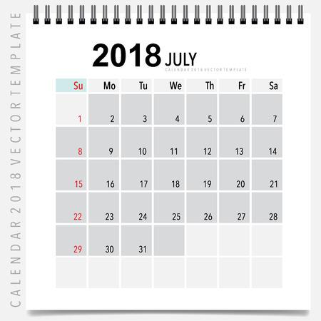 monthly calendar templates 2018