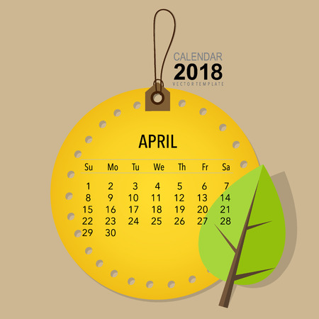appointments: 2018 Calendar planner vector design, monthly calendar template for April.