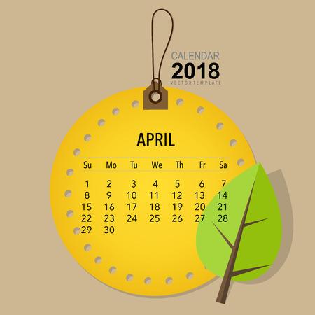2018 Conception de vecteur de calendrier calendrier, modèle de calendrier mensuel pour avril. Banque d'images - 89677684