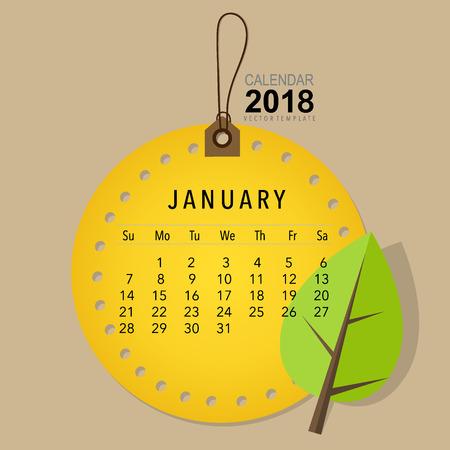 2018 Calendar planner vector design, monthly calendar template for January. Illustration