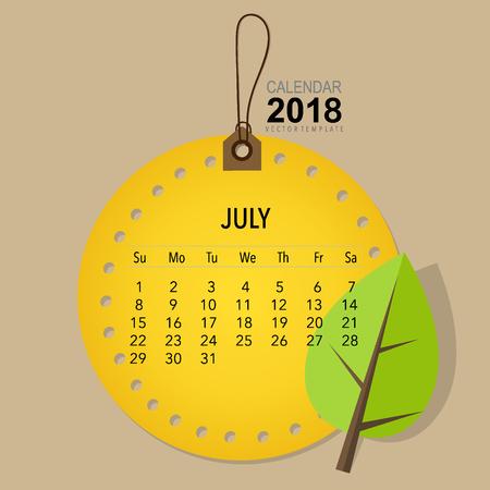 2018 Calendar planner vector design, monthly calendar template for July.