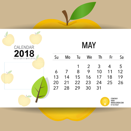 2018 Calendar planner vector design, monthly calendar template for May.