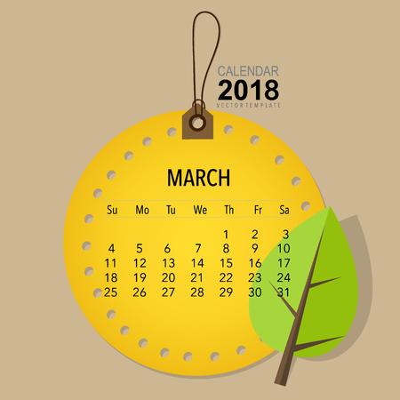 2018 Conception de vecteur de calendrier calendrier, modèle de calendrier mensuel pour Mars. Banque d'images - 89677775