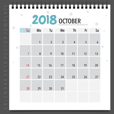 2018 calendar planner vector design monthly calendar template 2018 calendar planner vector design monthly calendar template for october stock vector 89677931 saigontimesfo