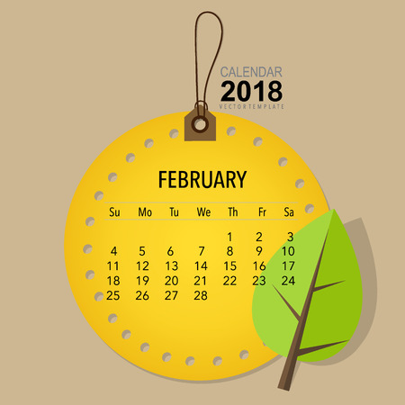 appointments: 2018 Calendar planner vector design, monthly calendar template for February.