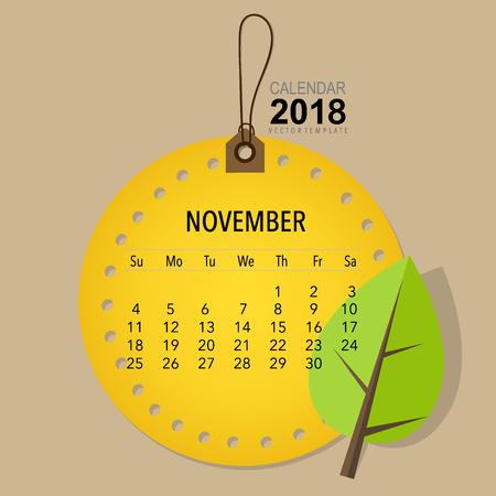 2018 Calendar planner vector design, monthly calendar template for November. Illustration