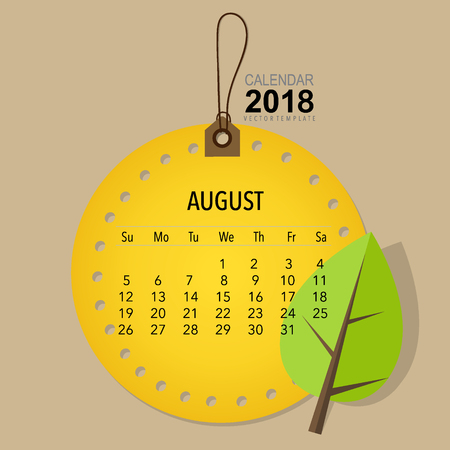 2018 Calendar planner vector design, monthly calendar template for August. Illustration