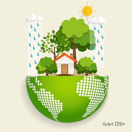 Green Eco city living concept with Green Eco Earth and Trees. Vector illustration.