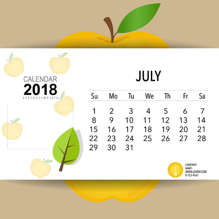 2018 Calendar planner vector design, monthly calendar template for July.