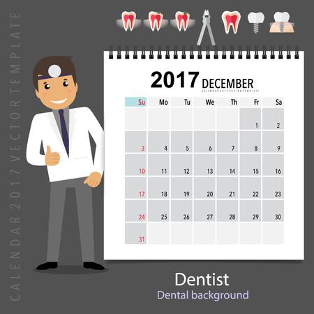 2017 Calendar planner with medical dental background design, monthly calendar template for December.