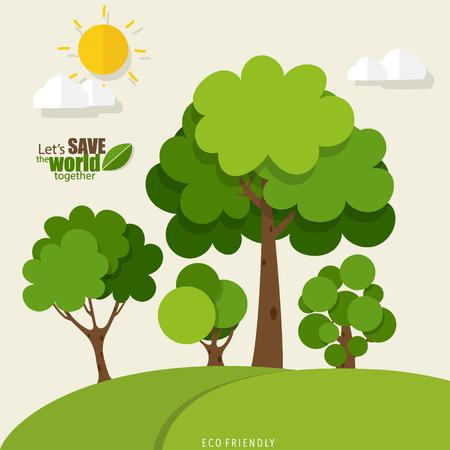 RESPETUOSO DEL MEDIO AMBIENTE. Concepto de Ecología con fondo de árbol. Ilustración vectorial