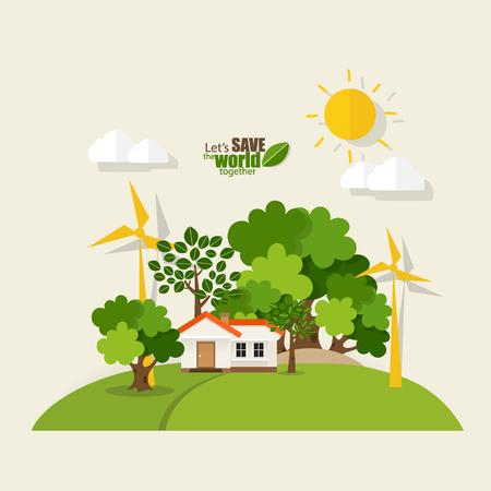 Green Eco city living concept. Vector illustration.