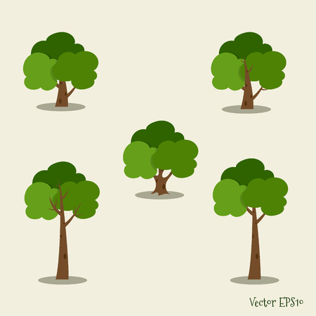 Set of abstract tree. Vector illustration.