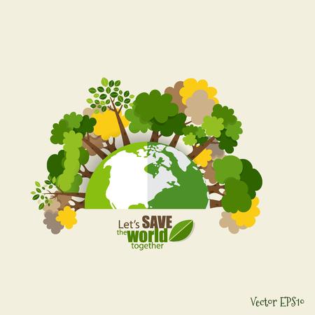 ECO FRIENDLY. Concetto di ecologia con Green Eco Earth e Alberi. Illustrazione vettoriale.