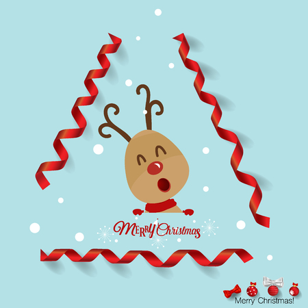 Christmas Greeting Card with Reindeer. Vector illustration.
