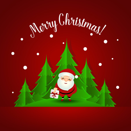 Christmas Greeting Card with Santa Claus and Christmas tree. Vector illustration. Vector Illustration