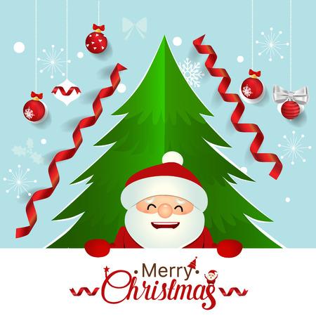 Christmas Greeting Card with Santa Claus, Christmas tree and Christmas decorations. Vector illustration.