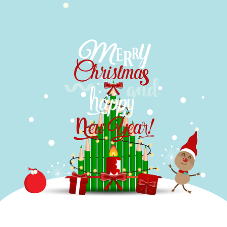 Christmas Greeting Card with Christmas Reindeer. Vector illustration.