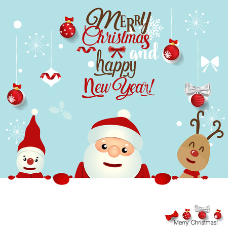 Christmas Greeting Card with Christmas Santa Claus ,Snowman and reindeer. Vector illustration.
